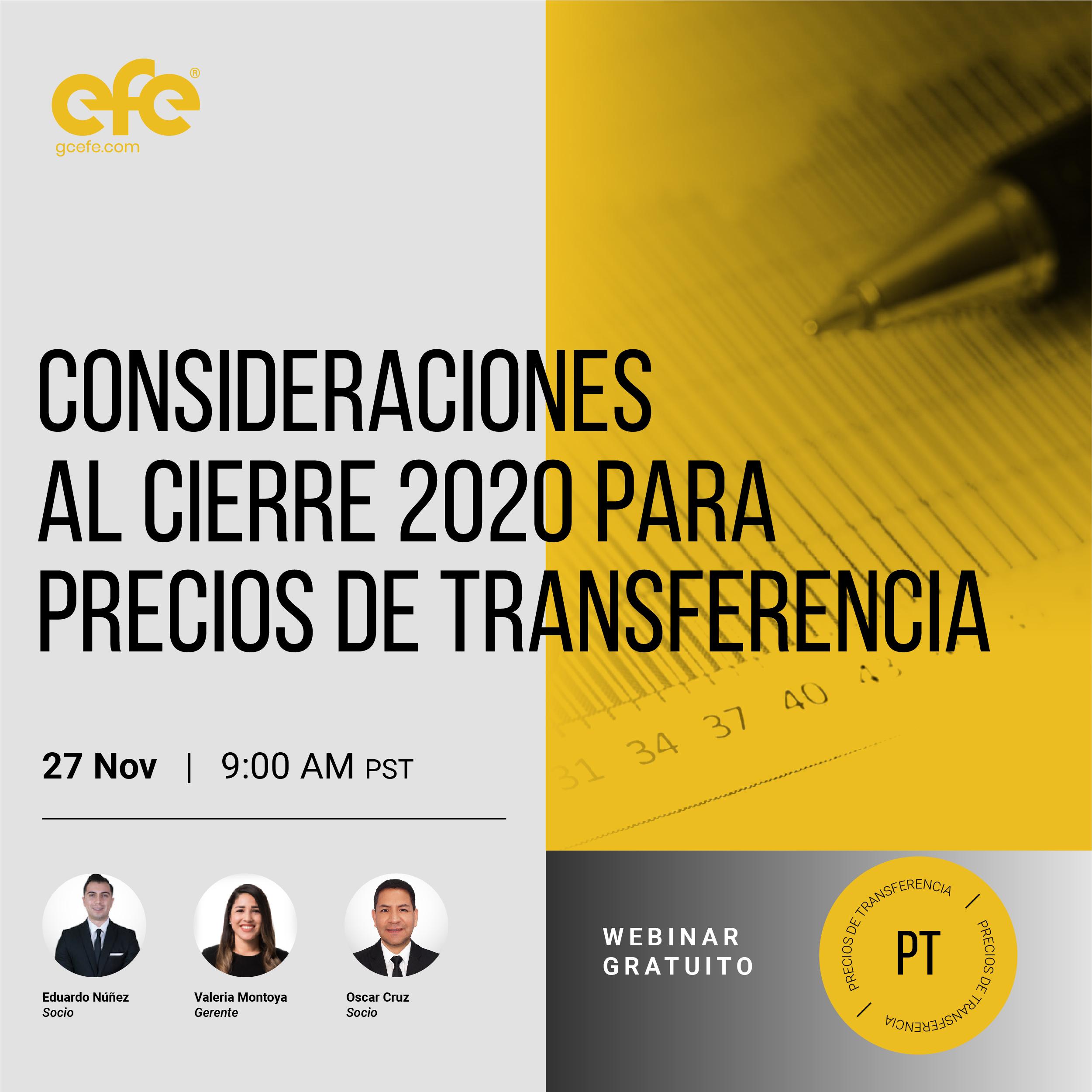 Consideraciones Al Cierre 2020 Para Precios De Transferencia
